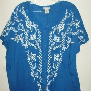 CATHERINES EMBROIDERED BUTTON DOWN BLOUSE SIZE 0X
